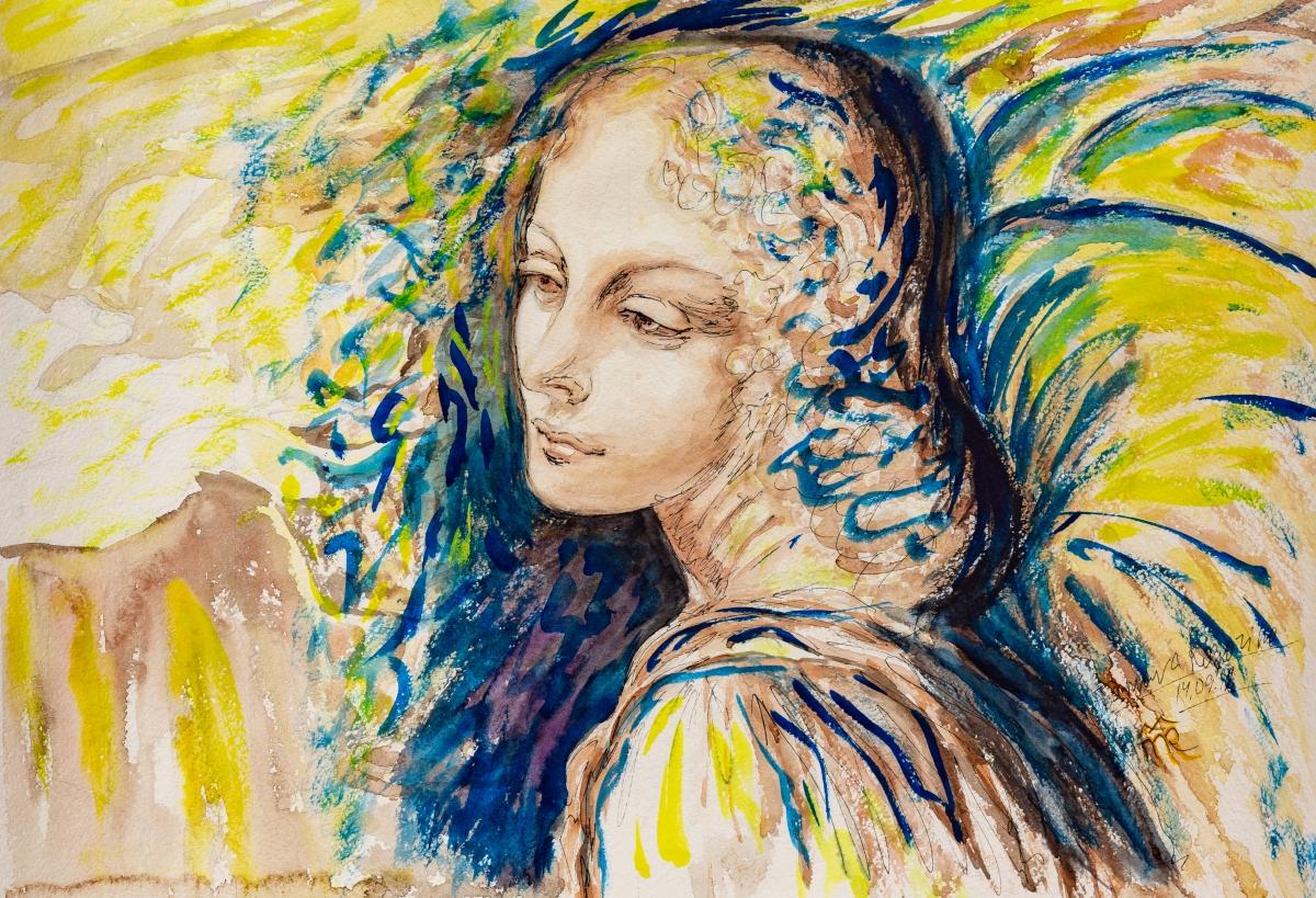 Angel, watercolor, 2018