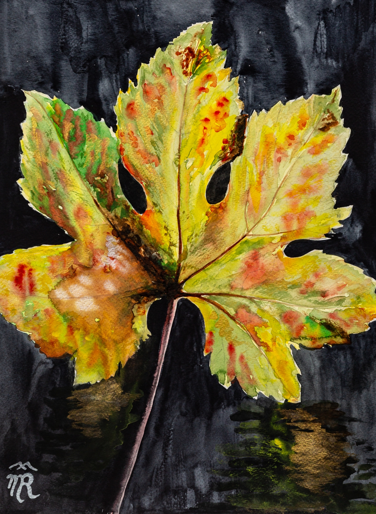 Autun leaf, watercolor, 2017