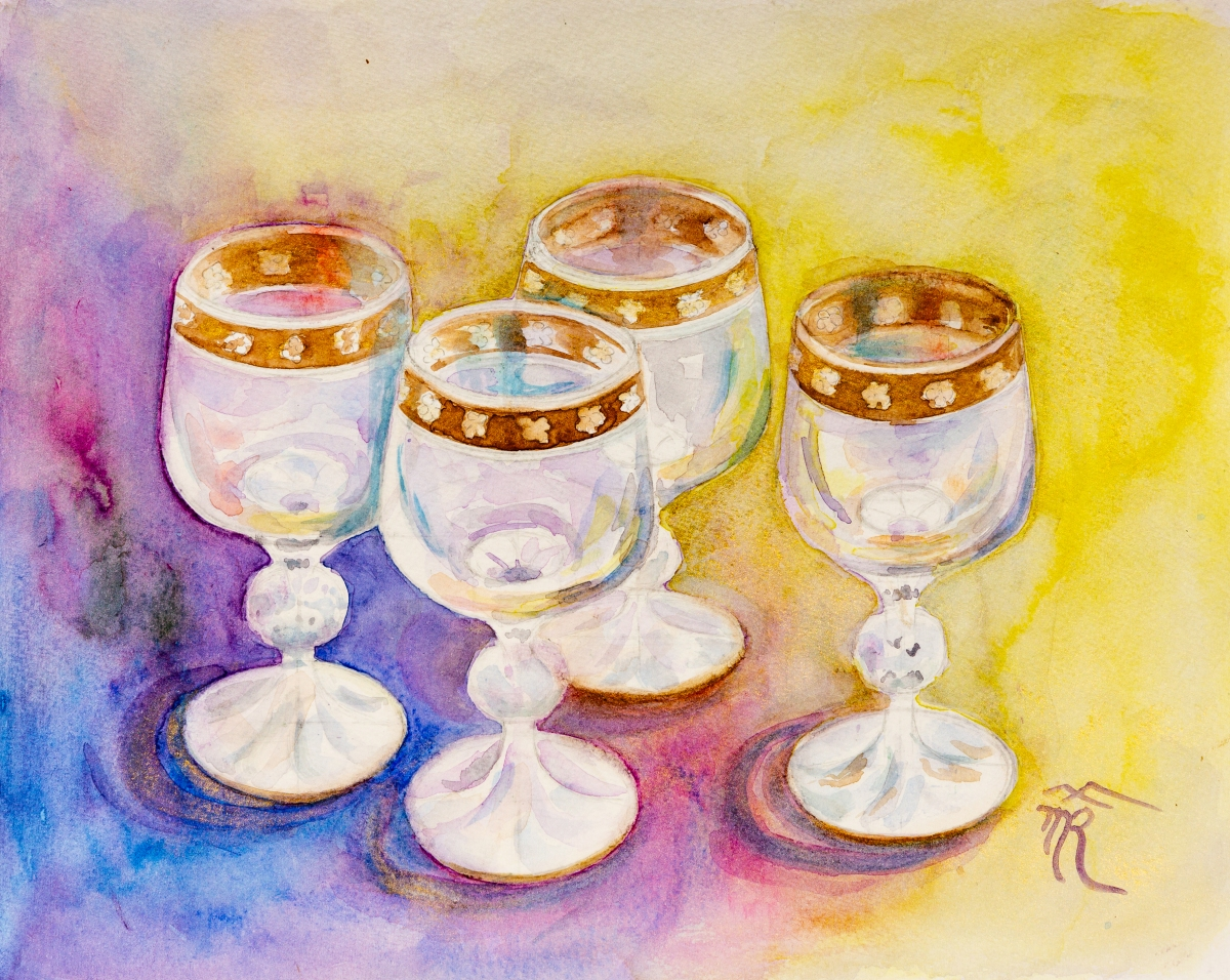 Glasses 1, watercolor, 2018