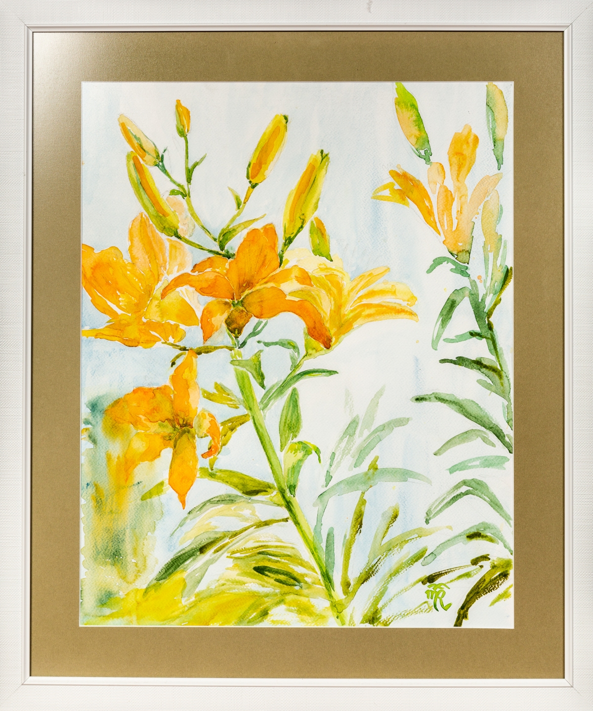 Yellow lilies, watercolor, 2016